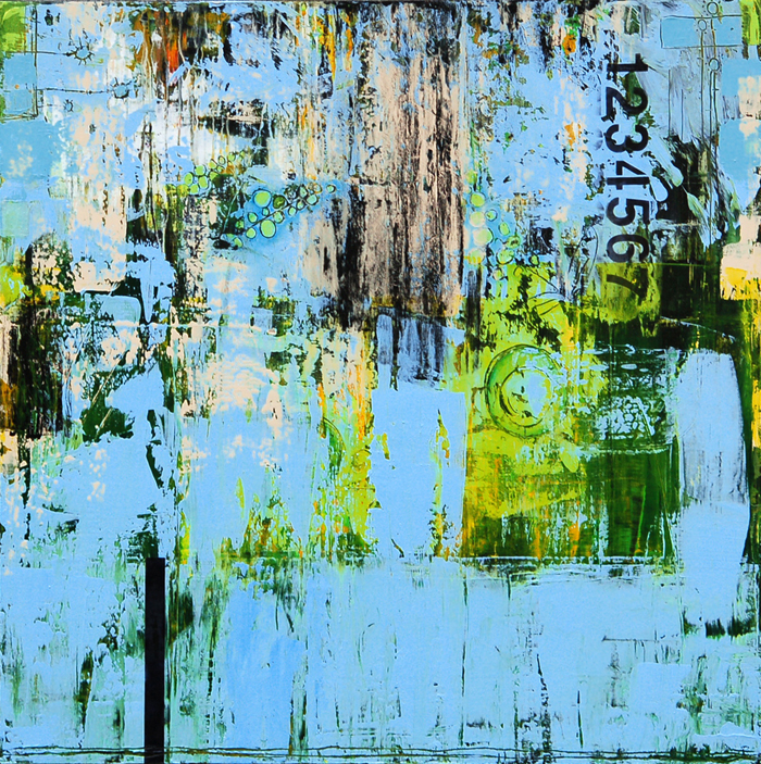 large blue contemporary abstract painting for modern loft, street, urban industrial graffiti