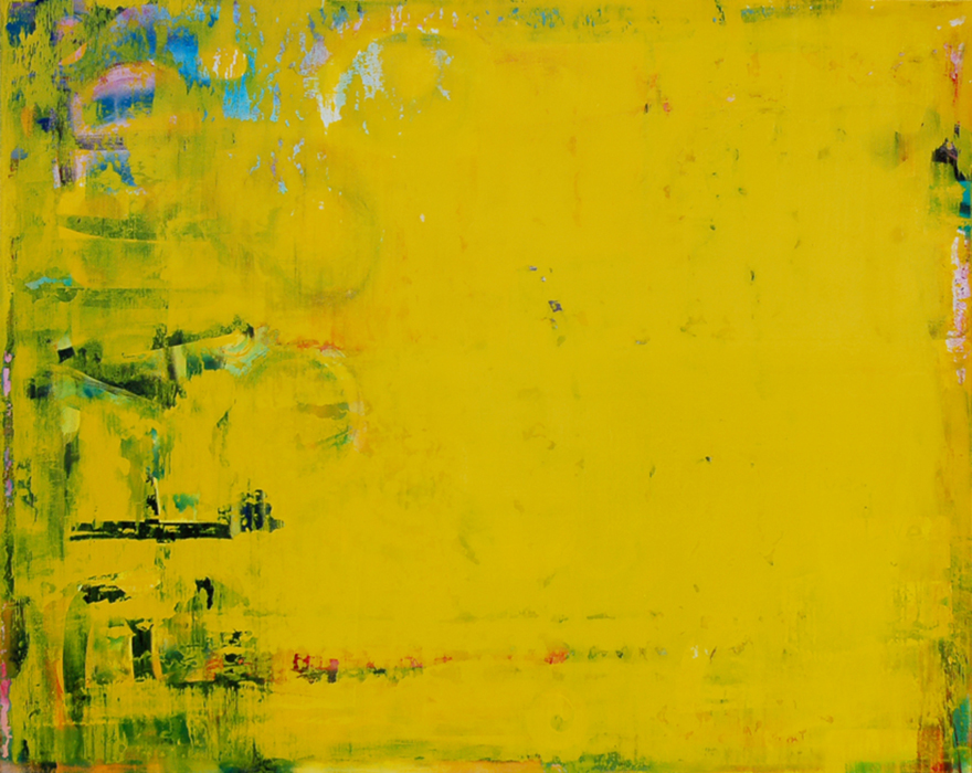 Extra large oversized yellow color field contemporary abstract art, modern urban industrial loft painting, street, graffiti