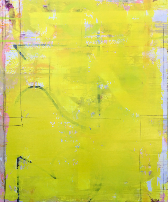 Extra large, oversized yellow contemporary abstract painting, modern loft art, color field, urban industrial, street, graffiti