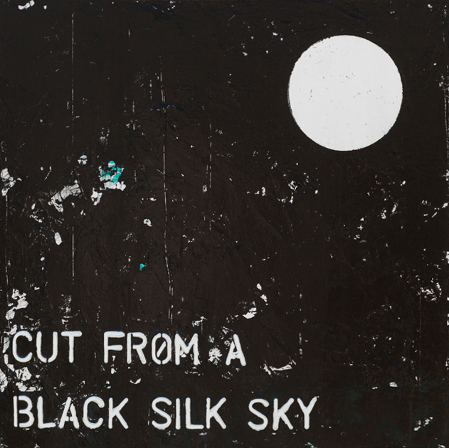 Contemporary abstract art, black and white urban industrial modern painting with typography