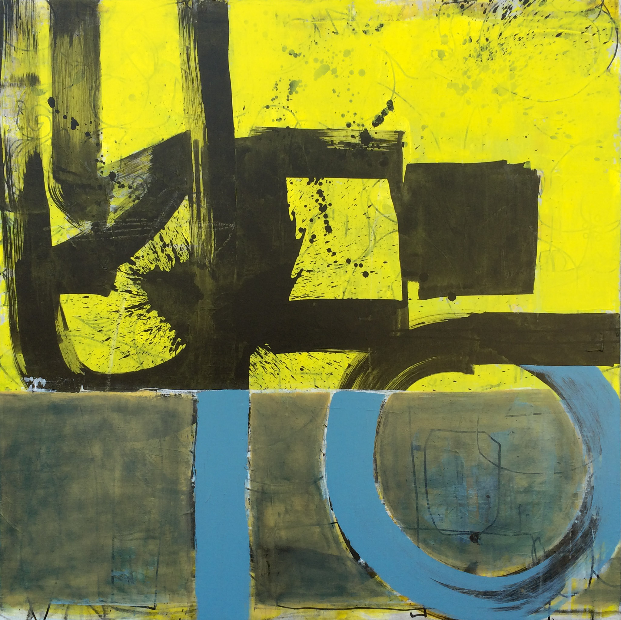 Extra large yellow, blue and black contemporary abstract art ...