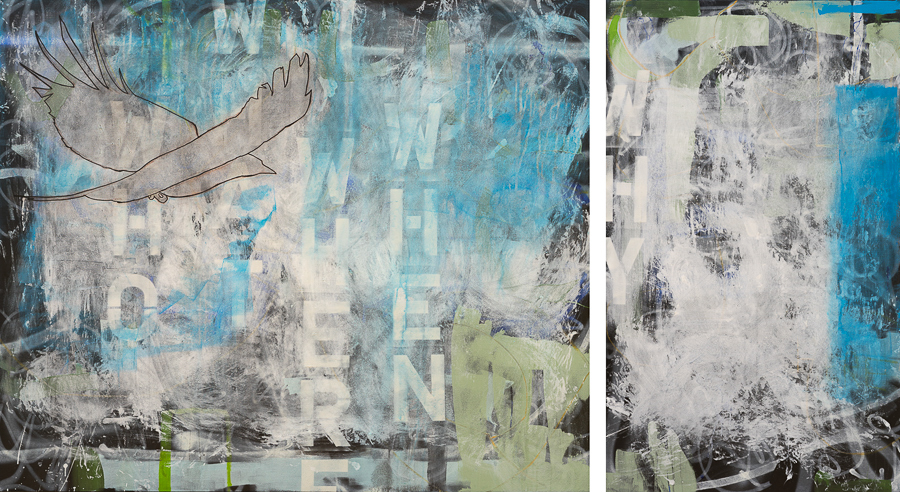 Oversized Contemporary Urban Industrial Diptych Painting Extra Large Street Graffiti Loft Art Bird-5Ws