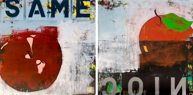 Extra Large Contemporary Diptych Painting Abstract Modern Text Urban Industrial Graffiti Loft Wall Art LauraLetchinger2SIDESq90p650-