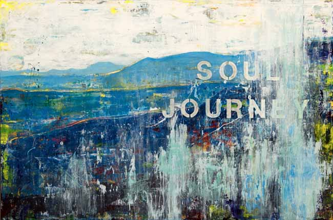 Large Blue Mountains Contemporary Abstract Painting Art Street Graffiti Urban Industrial Loft Wall Laura Letchinger SOUL JOURNEY q30p650