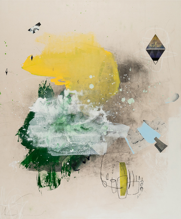 large contemporary abstract painting yellow neutral green white FALCON 2 Laura Letchinger