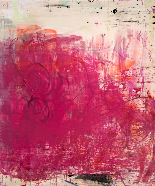 Oversized Contemporary Abstract Painting Magenta Street Art Graffiti on Canvas Modern Urban Industrial Loft Interior Design Extra Large ENOUGH SAID Laura Letchinger