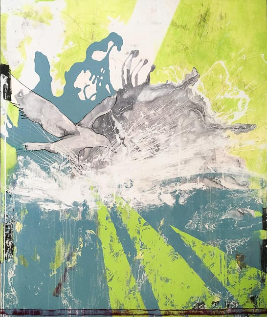 Extra Large Contemporary Abstract Art Painting Graffiti Street Urban Modern Green Blue Industrial Loft Oversized Coastal Bird Laura Letchinger DIP