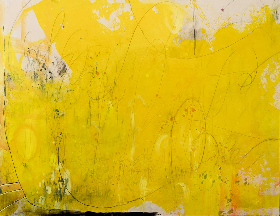Extra Large Oversized Yellow Contemporary Abstract Painting Urban Industrial Modern Loft Art Graffiti Street Laura Letchinger SUMMER 3051 h750