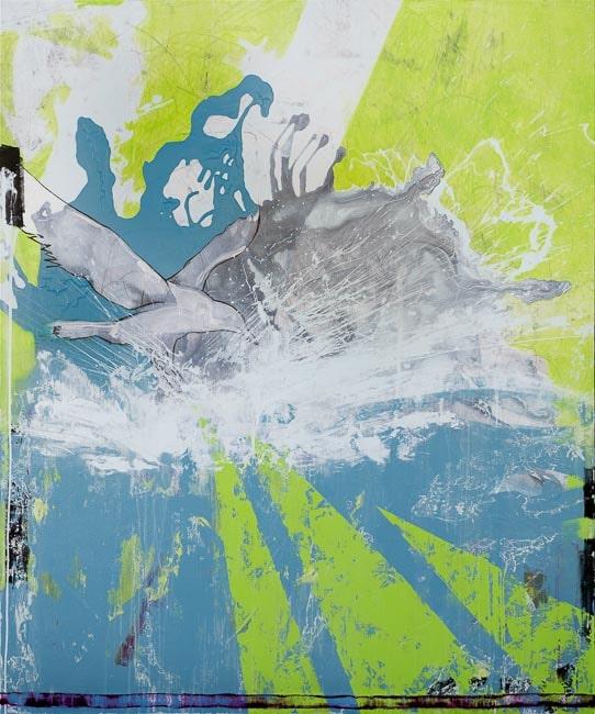 Extra Large Contemporary Abstract Art Painting Graffiti Street Urban Modern Green Blue Industrial Loft Oversized Coastal Bird Laura Letchinger DIP q50h750