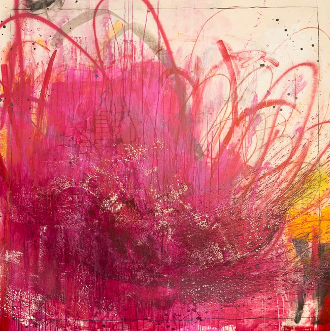 Extra Large Contemporary Abstract Painting Bright Modern Loft Art Oversized Urban Industrial Street Graffiti on Canvas Magenta Red Pink Laura Letchinger FLUTTER -4230 h 650