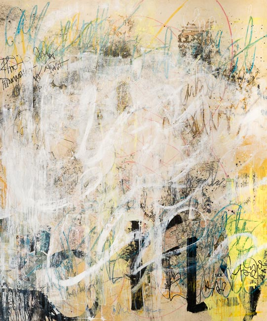 Extra Large Contemporary Abstract Painting Cream White Urban Industrial Loft Art Graffiti on Canvas Street Modern Laura Letchinger_SHOWTIME_q50h650_-4227