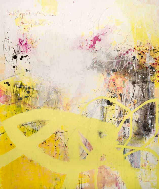 Extra large contemporary abstract painting - oversized yellow, white ...