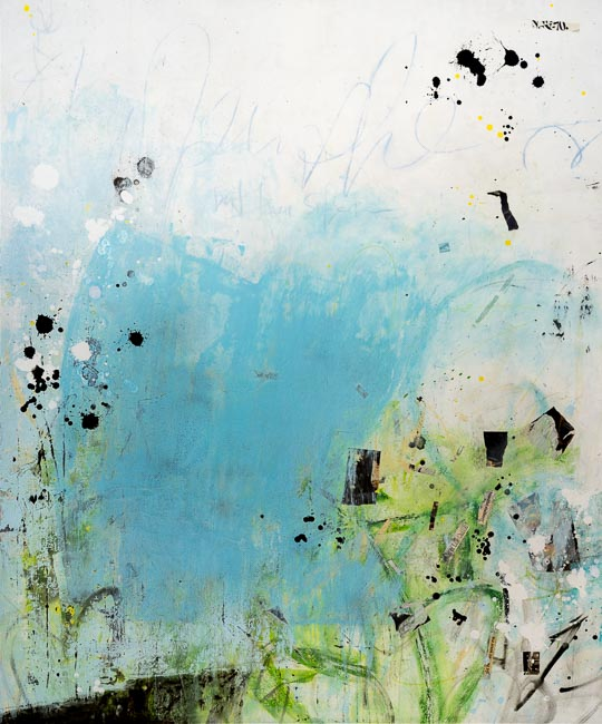 Extra large modern contemporary abstract painting light blue white oversized urban industrial loft street graffiti art canvas LauraLetchinger1971q50h650-7382