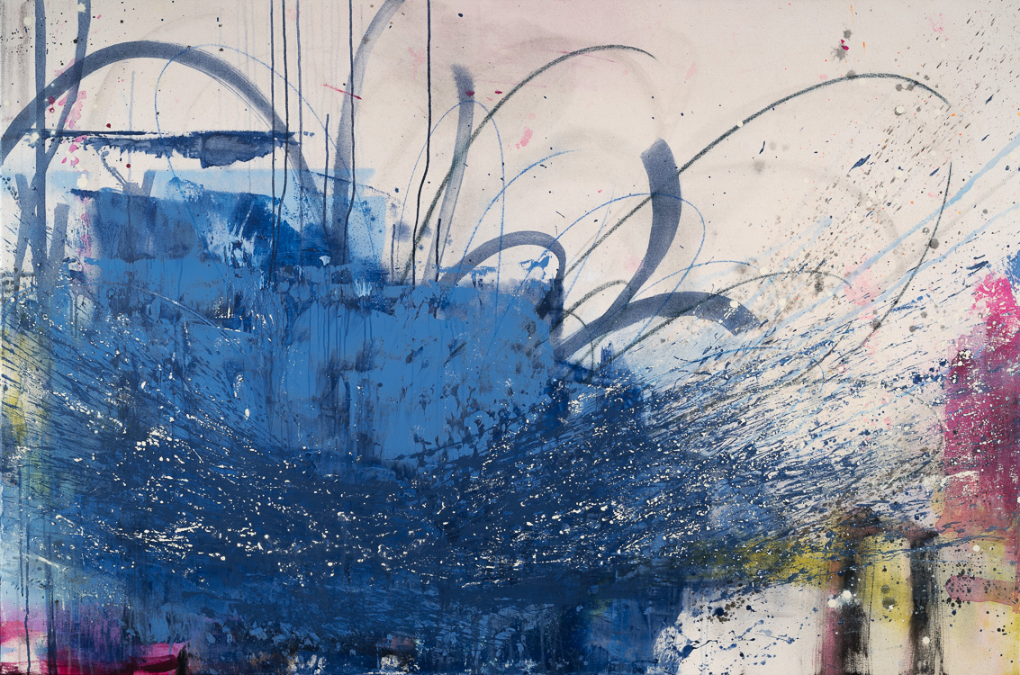 Extra Large Blue Oversized Contemporary abstract painting Urban Industrial modern street art on canvas loft gritty LauraLetchinger_CURRENT_48x72_q80h750-9425