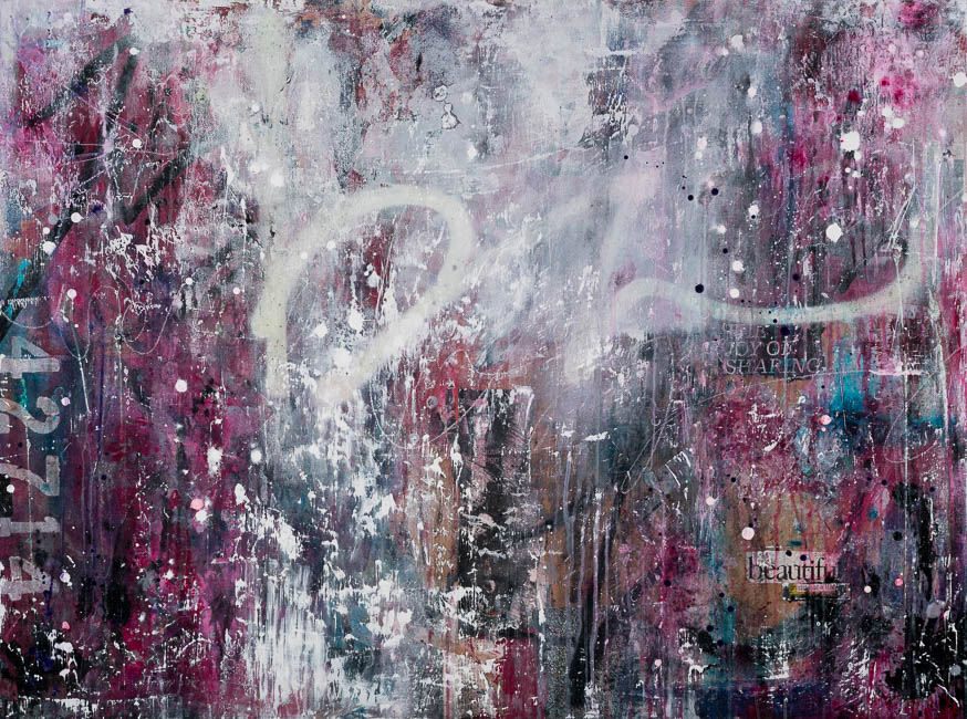 Large contemporary abstract painting magenta urban industrial loft art street graffiti gritty edge Laura Letchinger_JOY_36x48_q60h650-9546