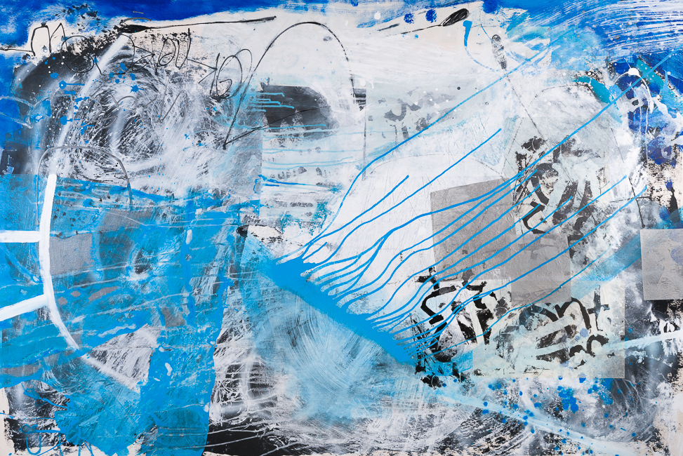 Extra large blue contemporary abstract painting; oversized art graffiti urban Laura Letchinger