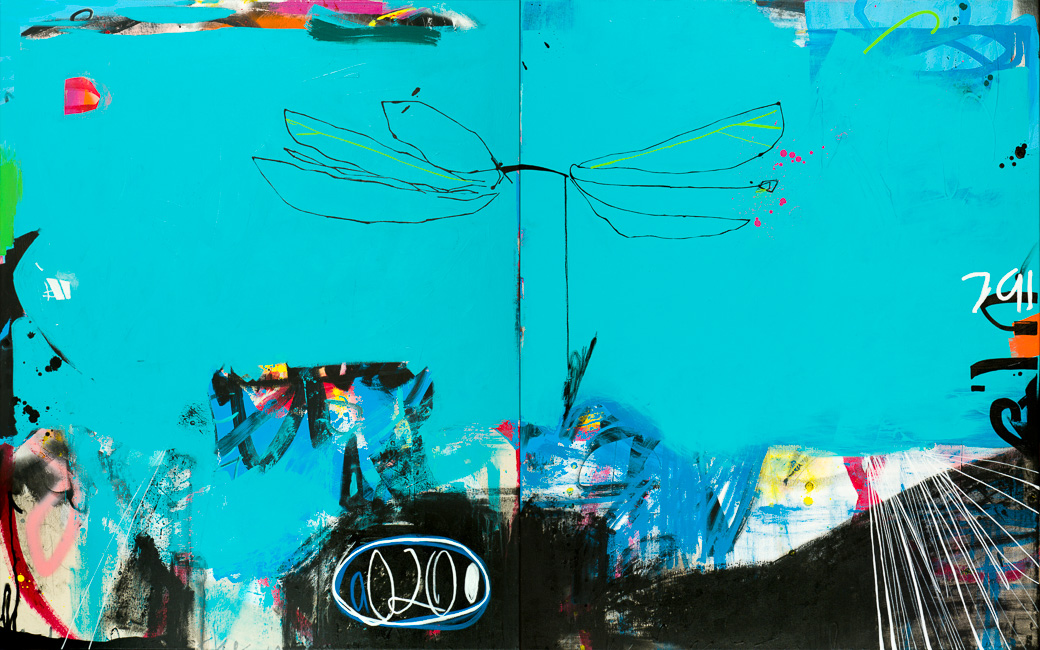 Contemporary Abstract Modern Urban Industrial Loft Graffitti Painting Street Laura Letchinger DRAGONFLY