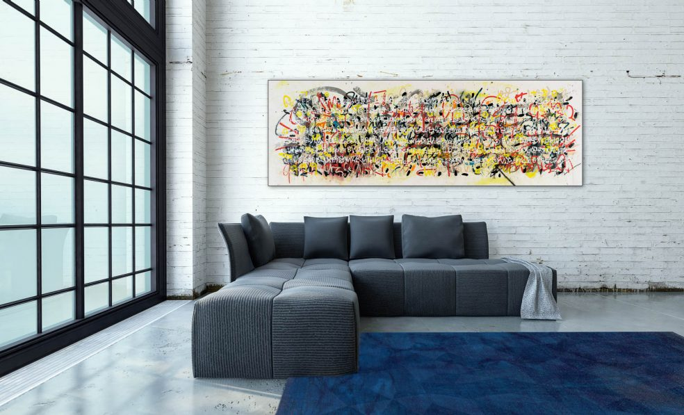 Large contemporary abstract painting; oversized colorful urban industrial art with textured writing graffiti / street edge for loft or modern space