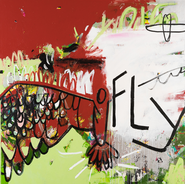 Extra Large Contemporary Abstract Art Painting Graffiti Street Urban Modern Green Red Industrial Loft Oversized Coastal Bird Fly Laura Letchinger