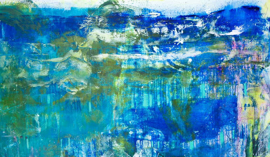 Extra Large Oversized Blue Green Contemporary Abstract Painting Urban Industrial Modern Loft Art Graffiti Street Laura Letchinger LAKE 3056 h650