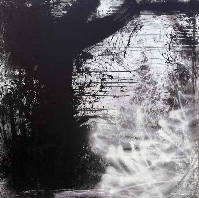 Large Black and White Urban Industrial Loft Art Contemporary Abstract Graffiti Street Painting-Laura Letchinger FROM THE ASHES