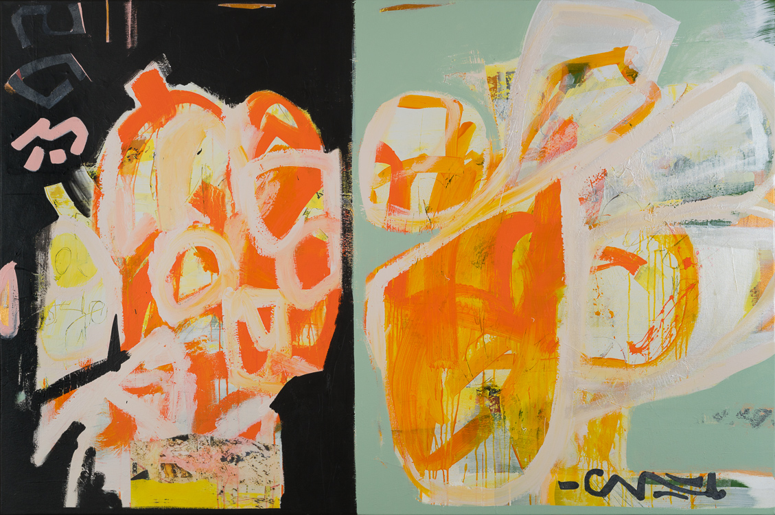 Large Modern Abstract Painting Original Mid Century Black Orange Green Urban Graffiti