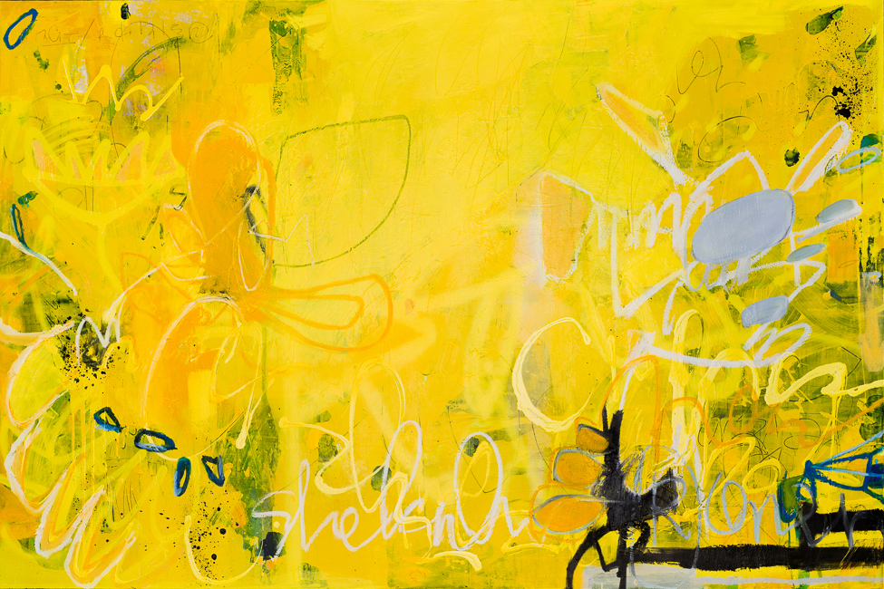 Large Yellow Contemporary Abstract Painting Original Street Graffiti Urban Industrial Loft Modern Laura Letchinger