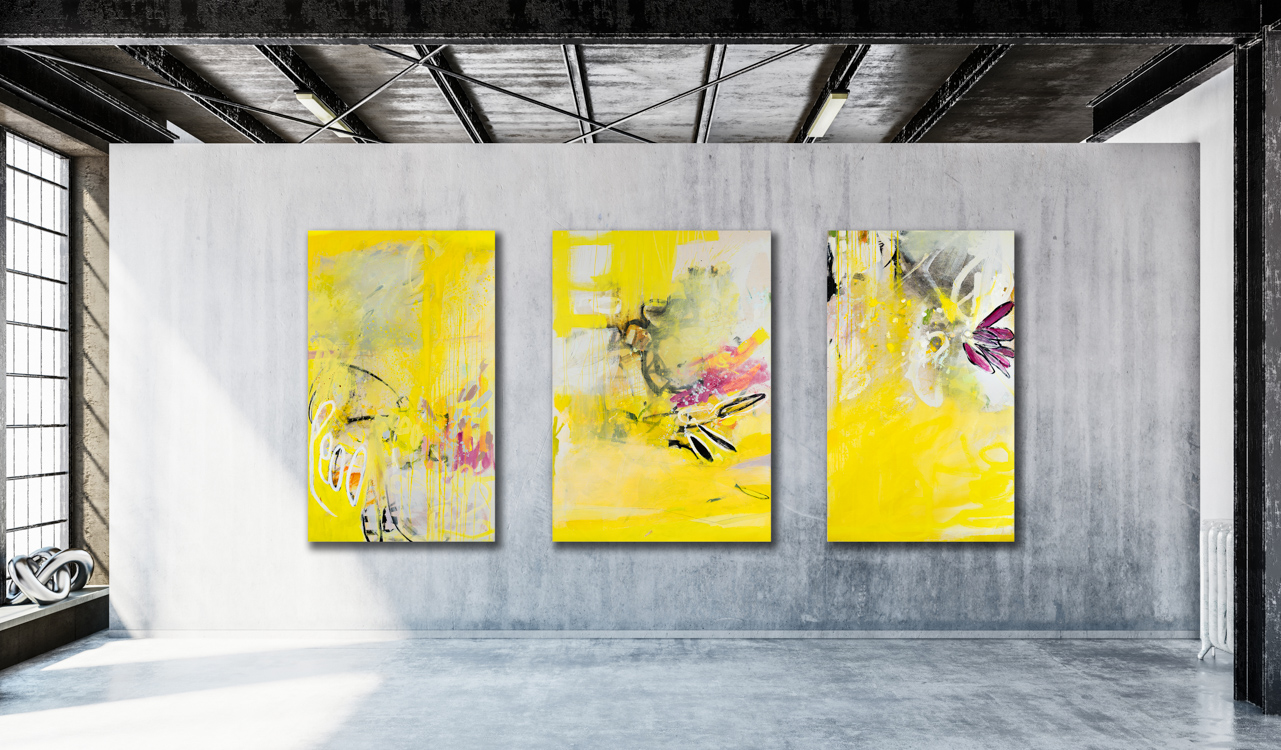 Large contemporary abstract triptych painting; original oversized ...