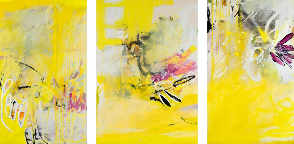 Large contemporary abstract triptych painting; original oversized yellow modern urban industrial art with a graffiti / street edge for loft, modern space or eclectic interior design Laura Letchinger