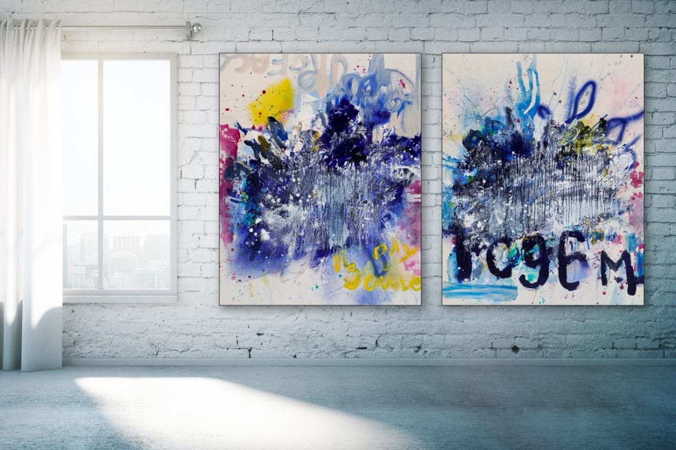 Large contemporary abstract diptych painting; original oversized blue modern urban industrial art with a graffiti / street edge Laura Letchinger
