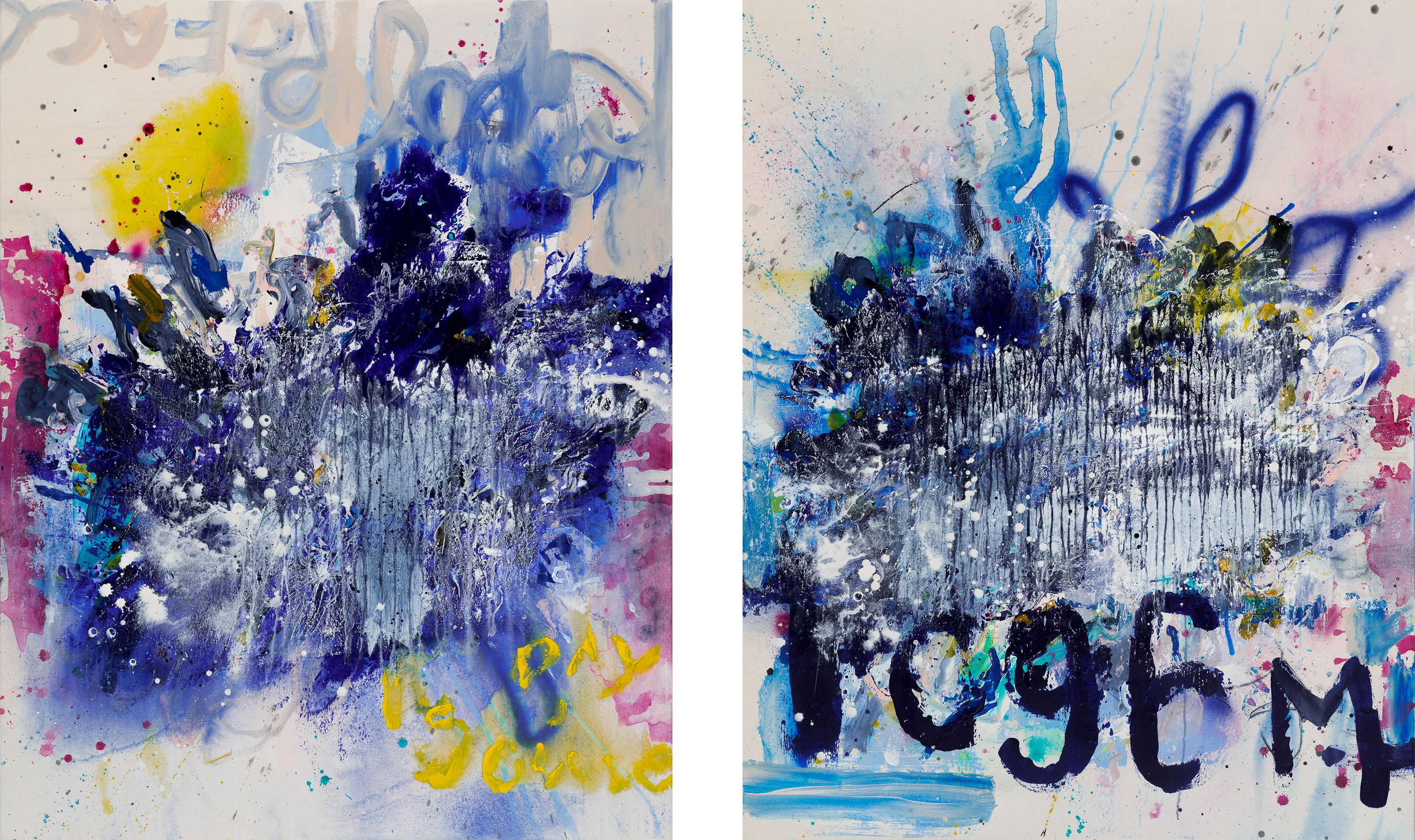 Large contemporary abstract diptych painting; original oversized blue modern urban industrial art with a graffiti / street edge