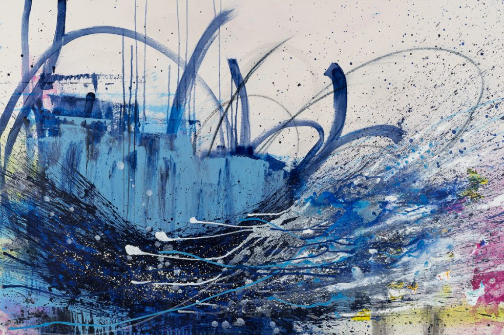 extra large contemporary abstract painting | original oversized blue modern urban industrial art | street graffiti edge
