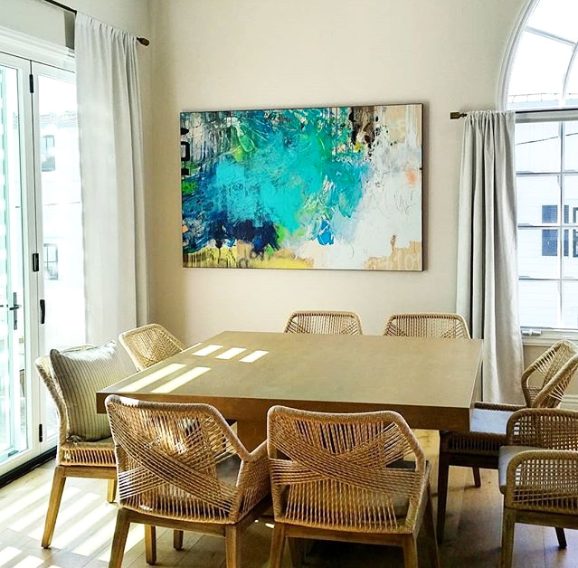 large contemporary abstract art blue teal colorful urban industrial street graffiti edge modern loft Laura Letchinger CARWASH