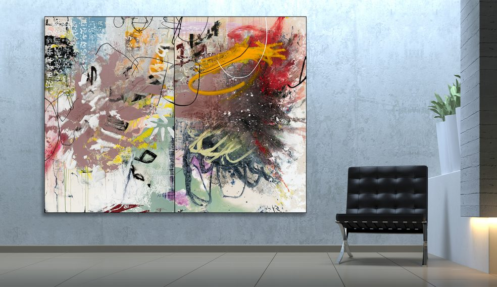oversized extra large contemporary modern abstract painting diptych urban industrial loft graffiti street edge expressionism Laura Letchinger Los Angeles artist STATE virtual room