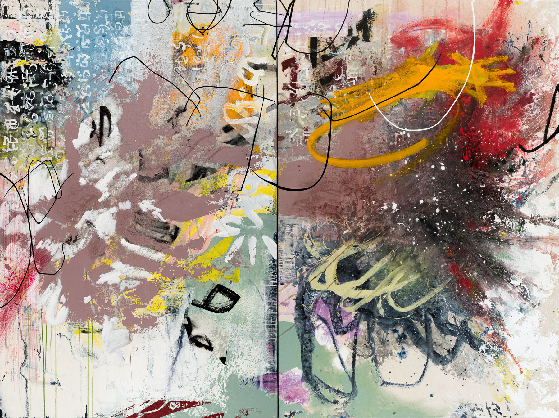 oversized extra large contemporary modern abstract painting diptych urban industrial loft graffiti street edge expressionism Laura Letchinger Los Angeles artist STATE
