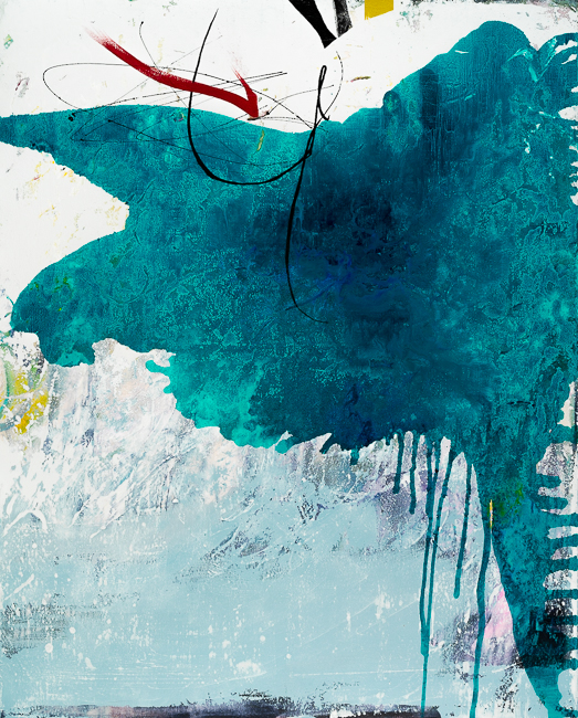 Large teal urban industrial abstract painting; original contemporary wall art with graffiti edge for loft or modern interior design Laura Letchinger