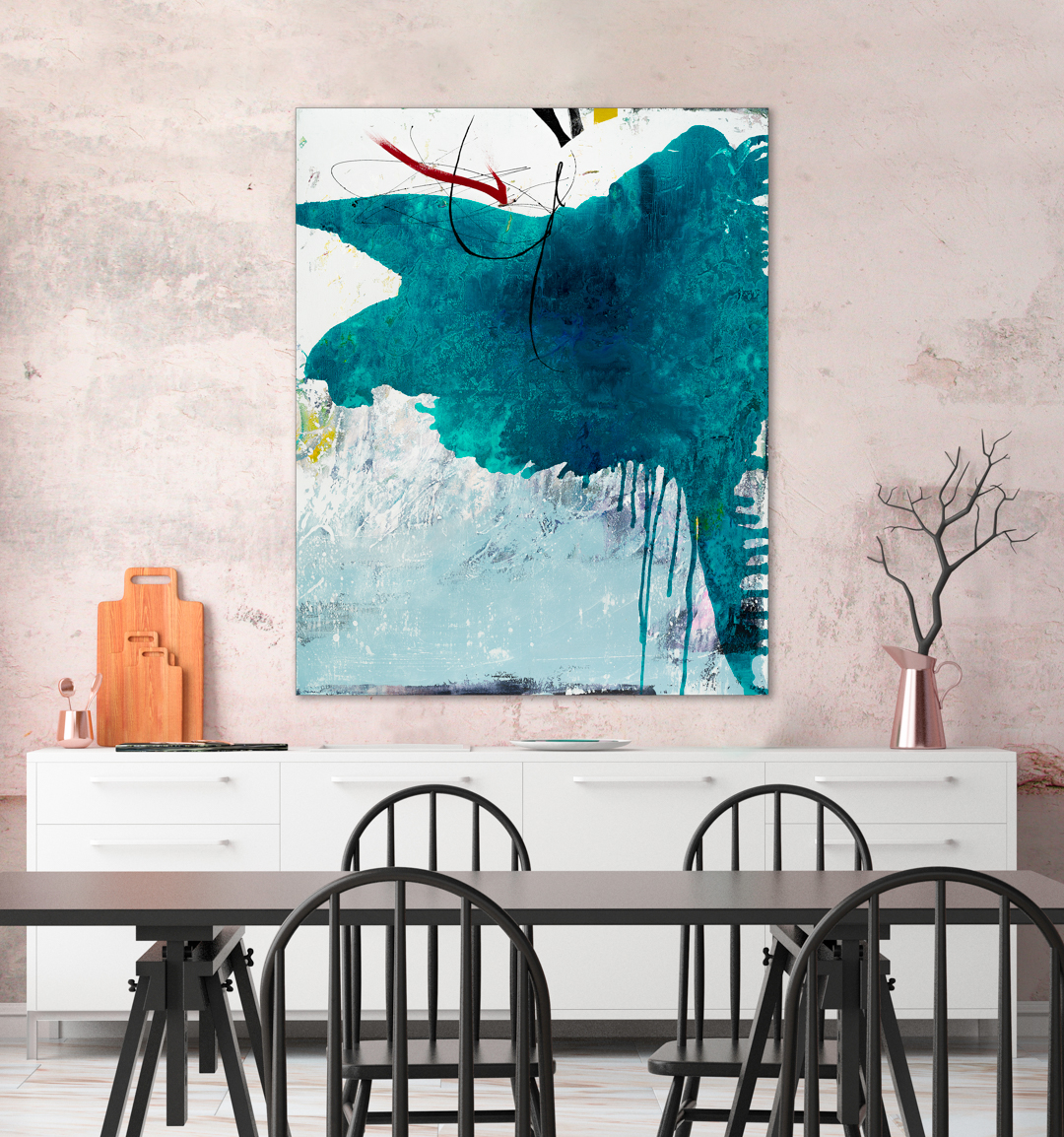 Large colorful modern contemporary painting urban industrial loft art graffiti street edge Laura Letchinger DEPOT