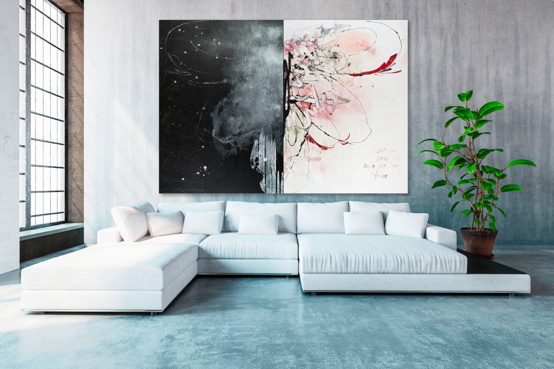 Oversized black and white contemporary abstract expressionist butterfly painting with urban industrial street graffiti edge; loft art by Laura Letchinger