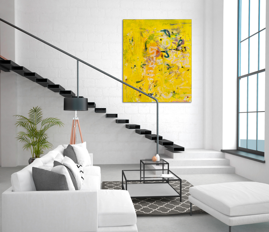Extra large yellow contemporary abstract painting urban industrial street graffiti expressionist loft art Laura Letchinger