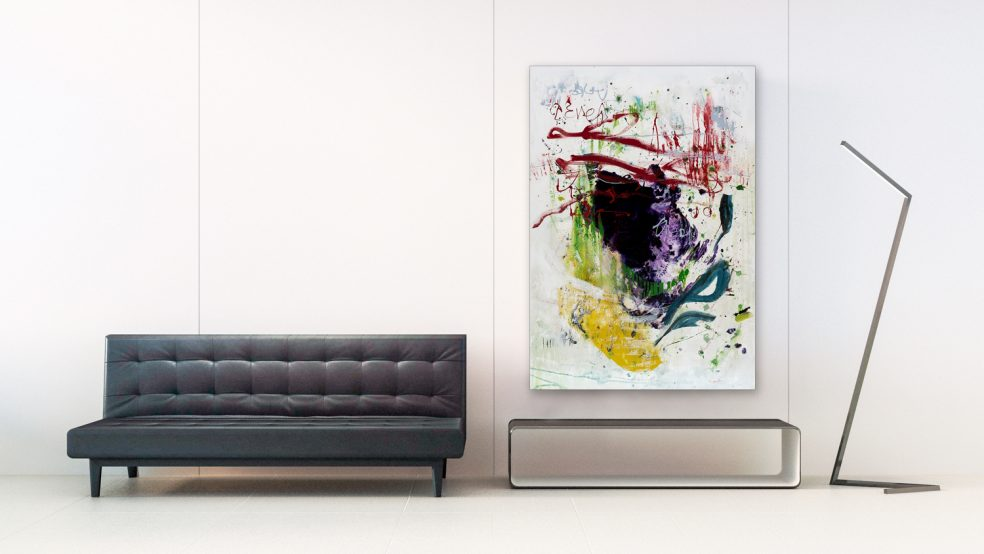 Large Colorful Contemporary Abstract Painting modern graffit urban loft art Laura Letchinger