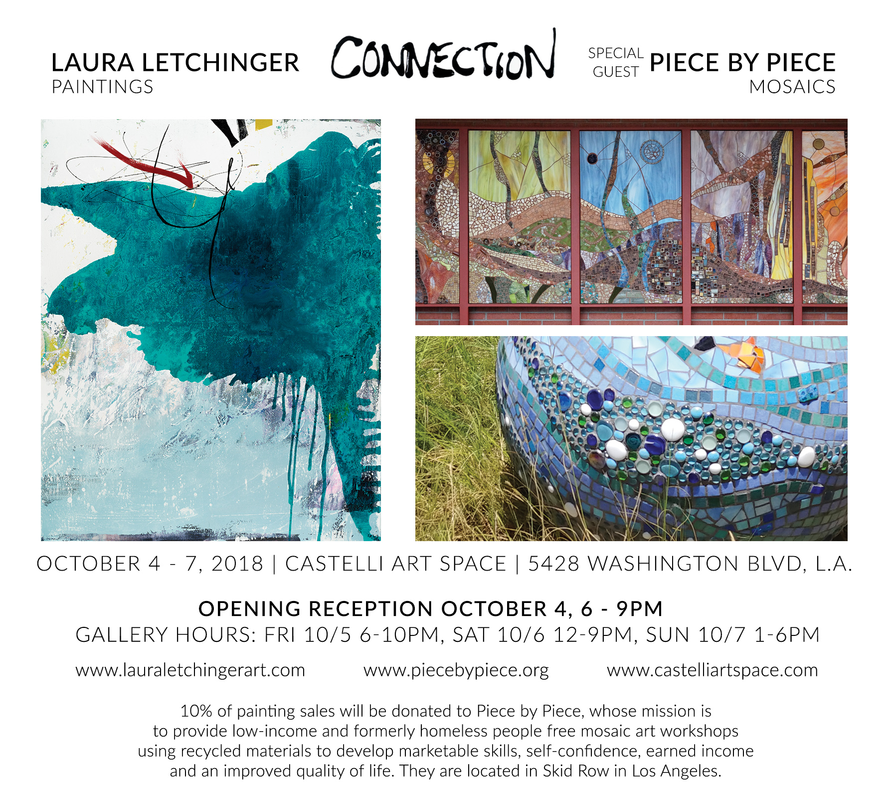 Laura Letchinger Art Exhibit with Nonprofit Piece by Piece in Los Angeles