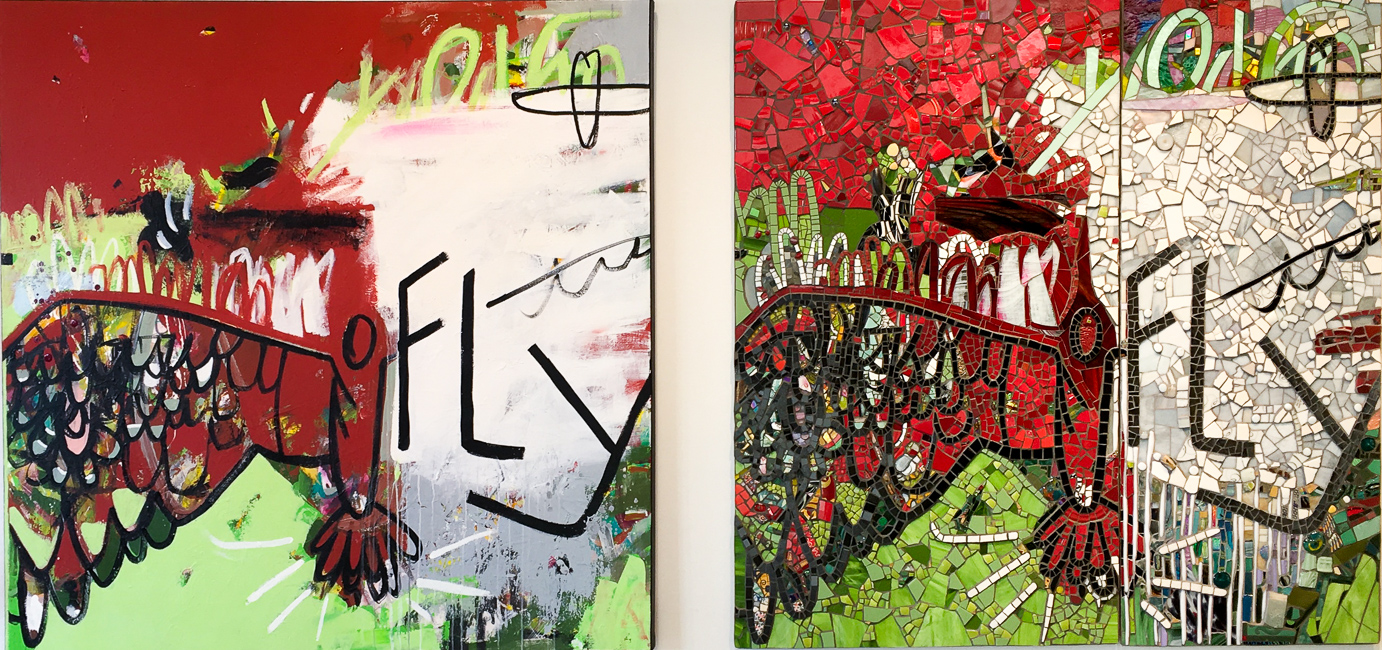Extra large contemporary abstract painting bird fly red