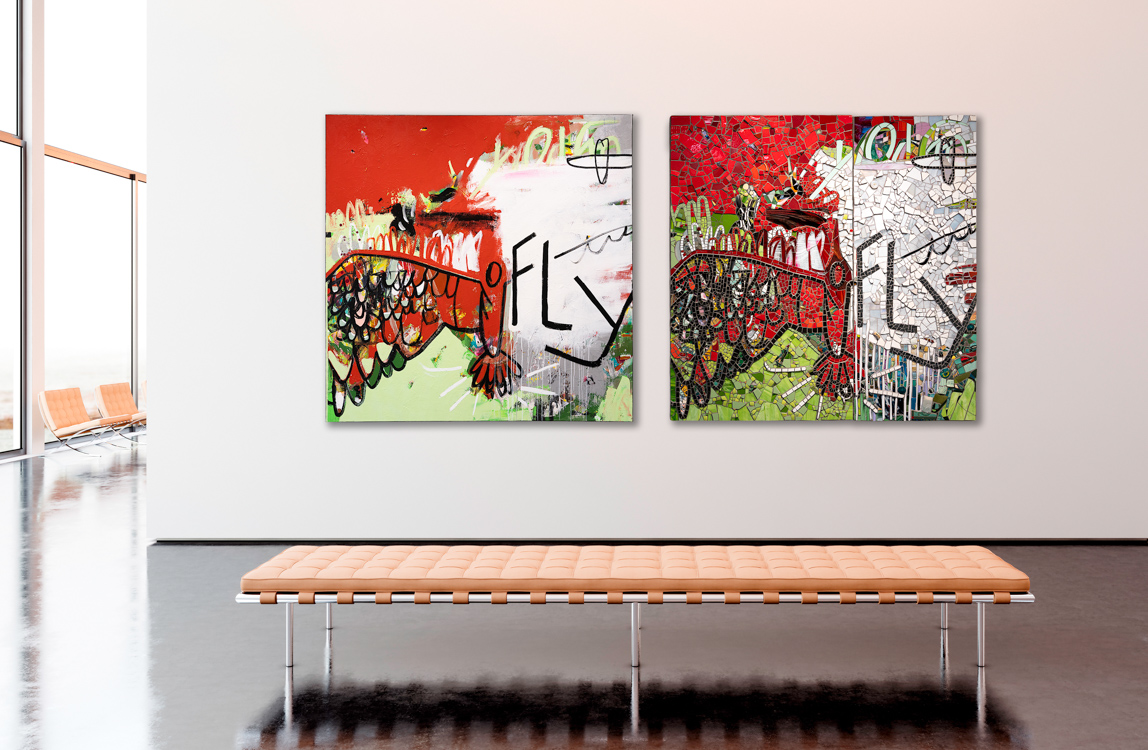 Oversize contemporary abstract art urban industrial steet graffiti loft art red green bright mosaic painting Laura Letchinger Piece by Piece