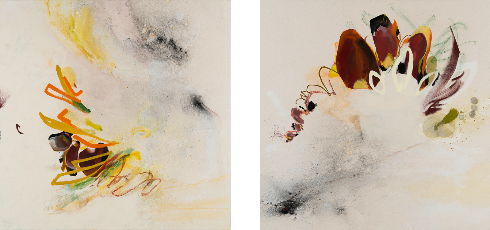 Large contemporary abstract diptych painting, cream and warm tones with bird / fly theme by Laura Letchinger. Street graffiti urban industrial expressionism edge