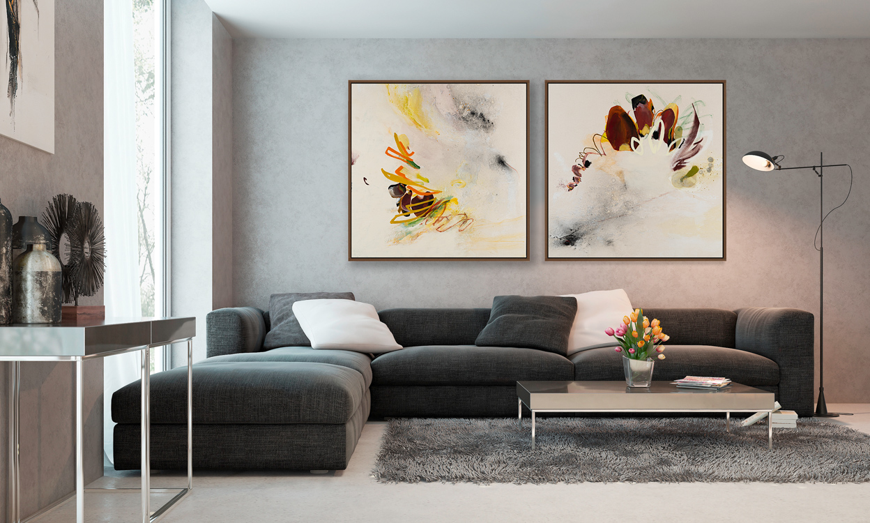 Extra large contemporary abstract painting street graffiti fly bird urban industrial art Laura Letchinger