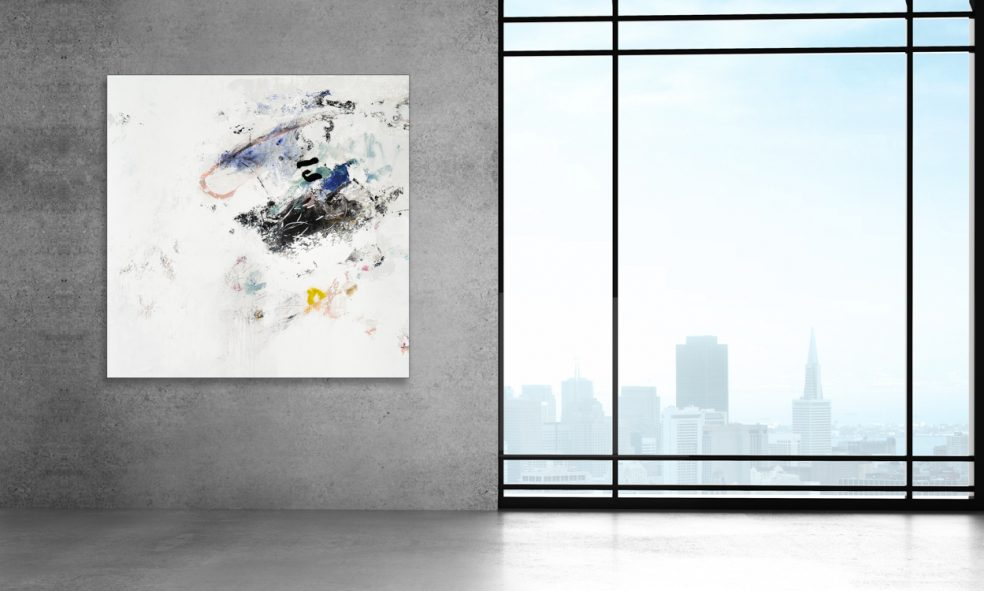 Extra large white minimalist contemporary abstract expressionist painting; urban street graffiti edge by Laura Letchinger