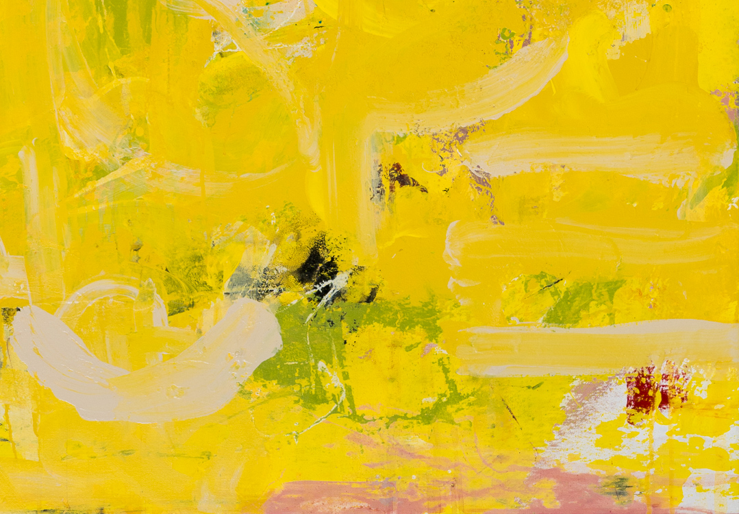 detail - Extra large yellow contemporary abstract painting urban industrial street graffiti expressionist loft art Laura Letchinger