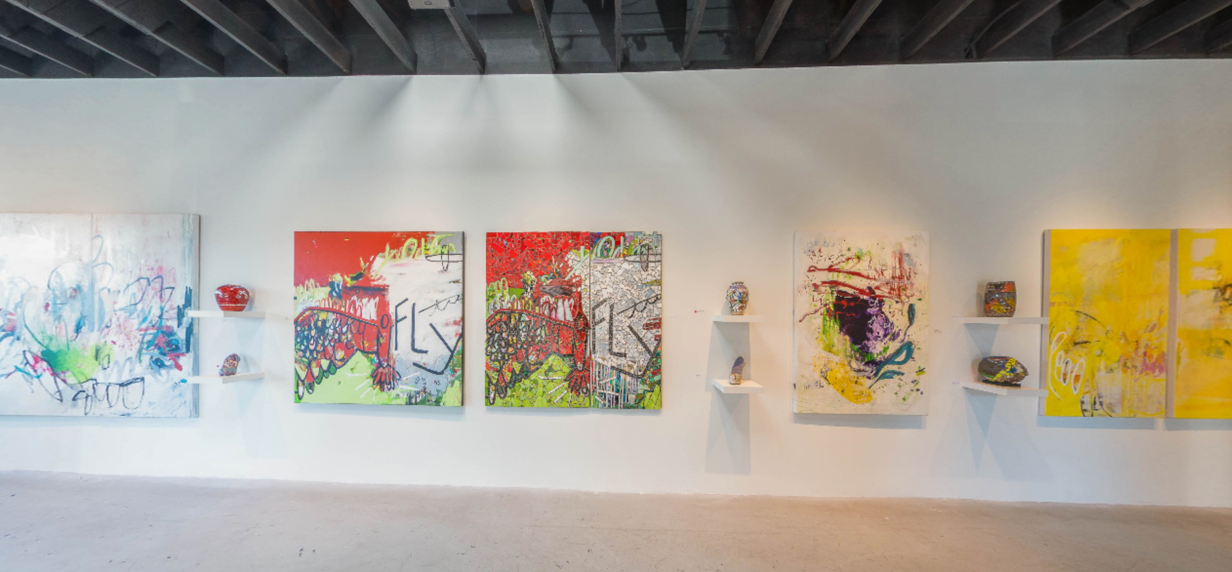 Extra Large Contemporary Abstract Painting Blue Diptych Urban Industrial Loft Graffiti Street Laura Letchinger