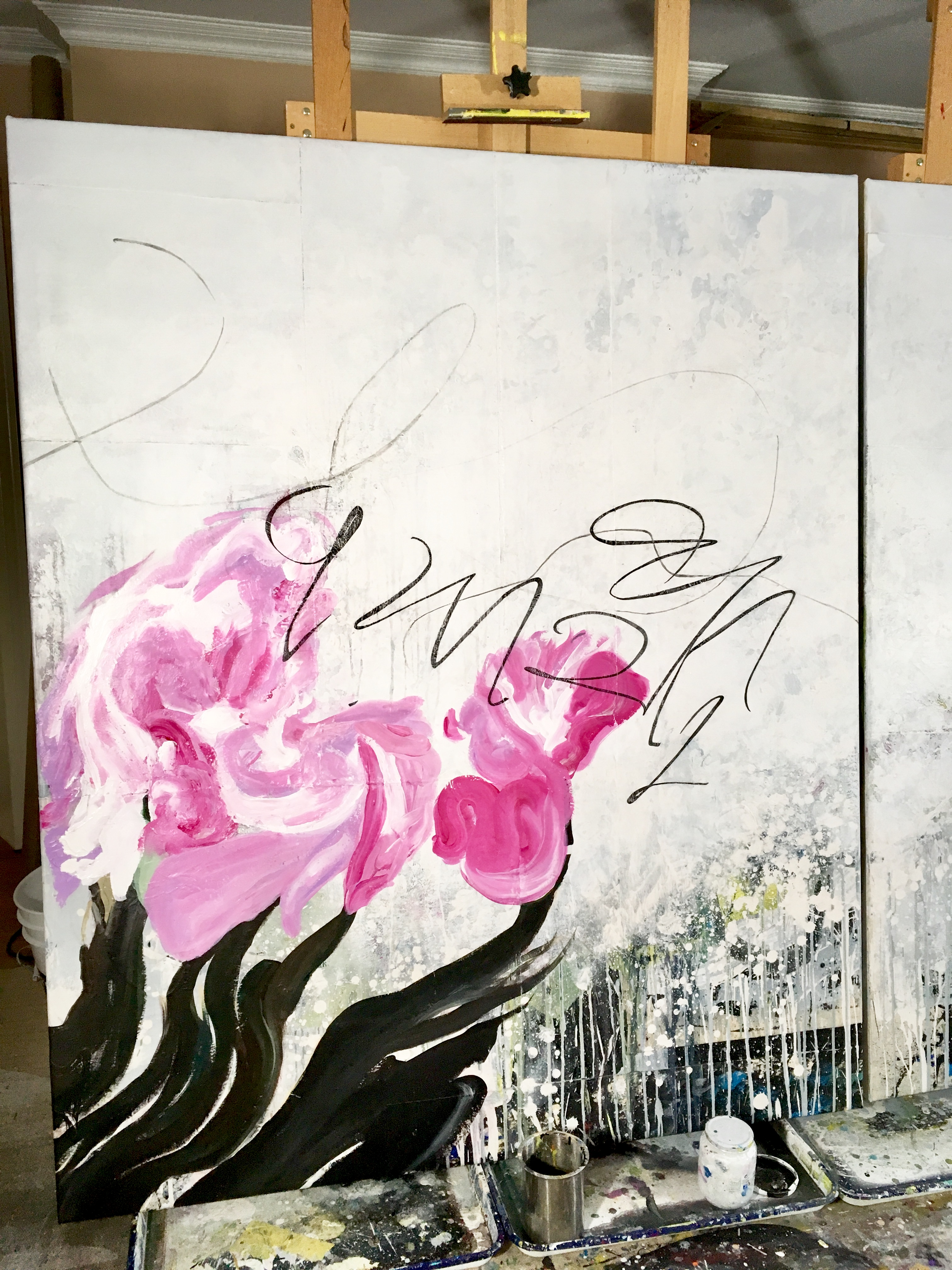 Extra Large Contemporary Abstract Art Painting Graffiti Street Urban Modern Black Industrial Loft Oversized Laura Letchinger wip
