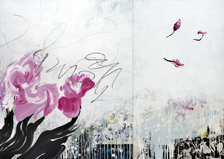 Large bright contemporary abstract painting street graffiti flowers white pink urban street graffiti expressionism loft Laura Letchinger DRIFT